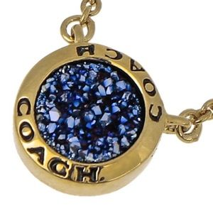 """Coach Gold Open Circle Stone Strand 18"""" Necklace"""